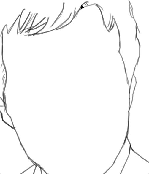 5)画出五官,并且涂出简单的暗部,这样在下一步细化的时候就不用再确定光源。也就是现在画的黑色部分将来要着重抹黑,有黑才会体现白色的高光。但是这步不要画出眼珠,这个要在细化的时候再画。