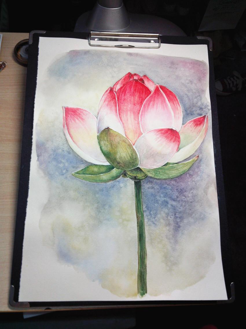 仿自金修珊奈的水彩花卉
